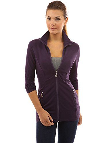 PattyBoutik Women's Collar Pockets Casual Zip Jacket *** For more information, visit image link.