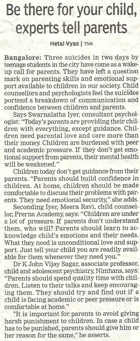 """""""If #Parents don't understand their #children, who will?"""" ~ Meera Ravi... Read the article from @timesofindia"""