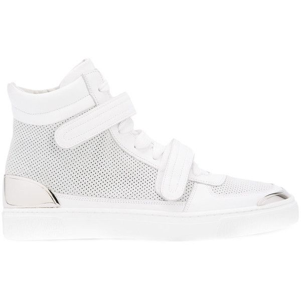 Louis Leeman double stap hi-top sneakers (£400) ❤ liked on Polyvore featuring men's fashion, men's shoes, men's sneakers, white, mens high top sneakers, mens white sneakers, mens high top shoes, mens white high top sneakers and mens white high top shoes