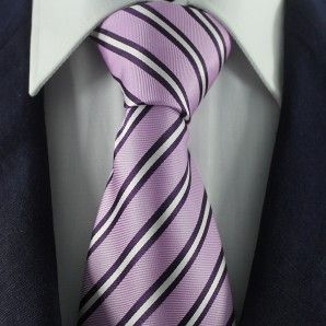 Violet & White Striped Neckties / Formal Business Neckties.