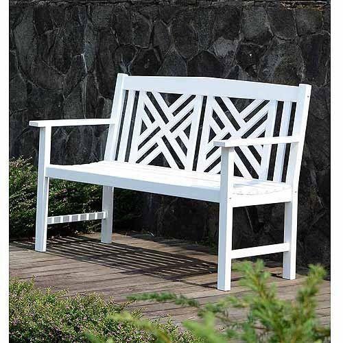 Outdoors Garden Bench 4 Foot White Decor Porch Resistant Wooden Patio Furniture #White