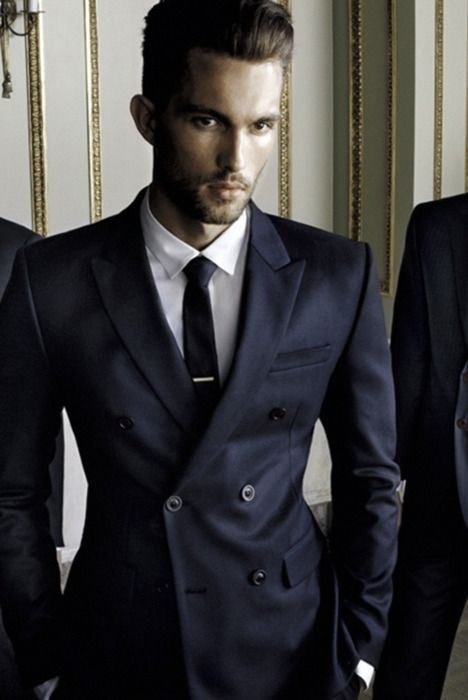 Latest Coat Pant Designs Navy Blue Double Breasted Men Suit Formal