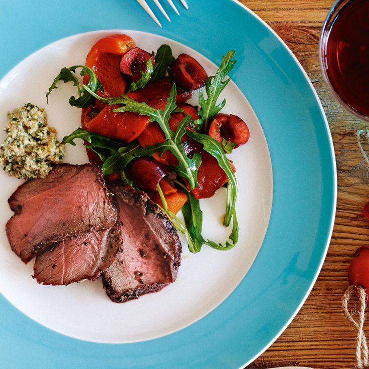 Barbecued venison roast with red capsicum salad & walnut salsa