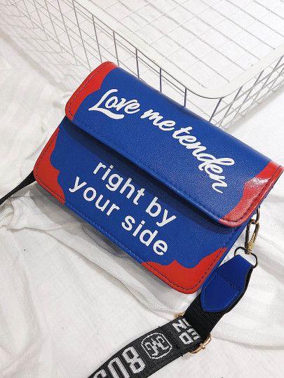 af7c84cdab09a Slogan Print Flap Crossbody Bag -SheIn(Sheinside) | Handbags ...