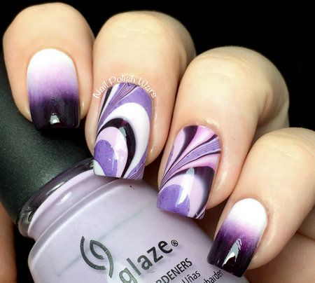 Marbled and ombre purple on white
