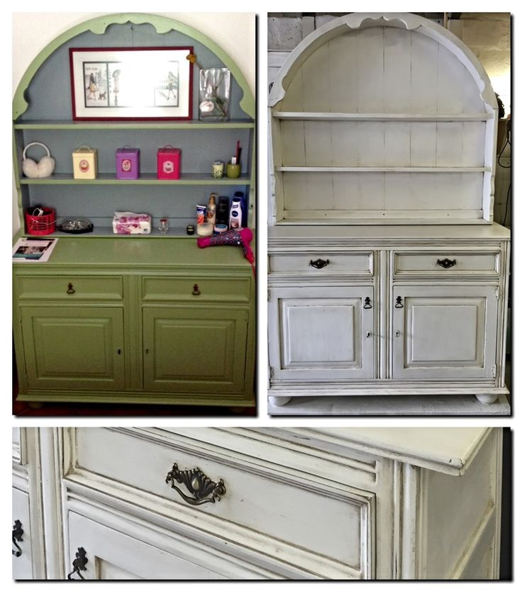 Vintage green dresser re-done in Antique white