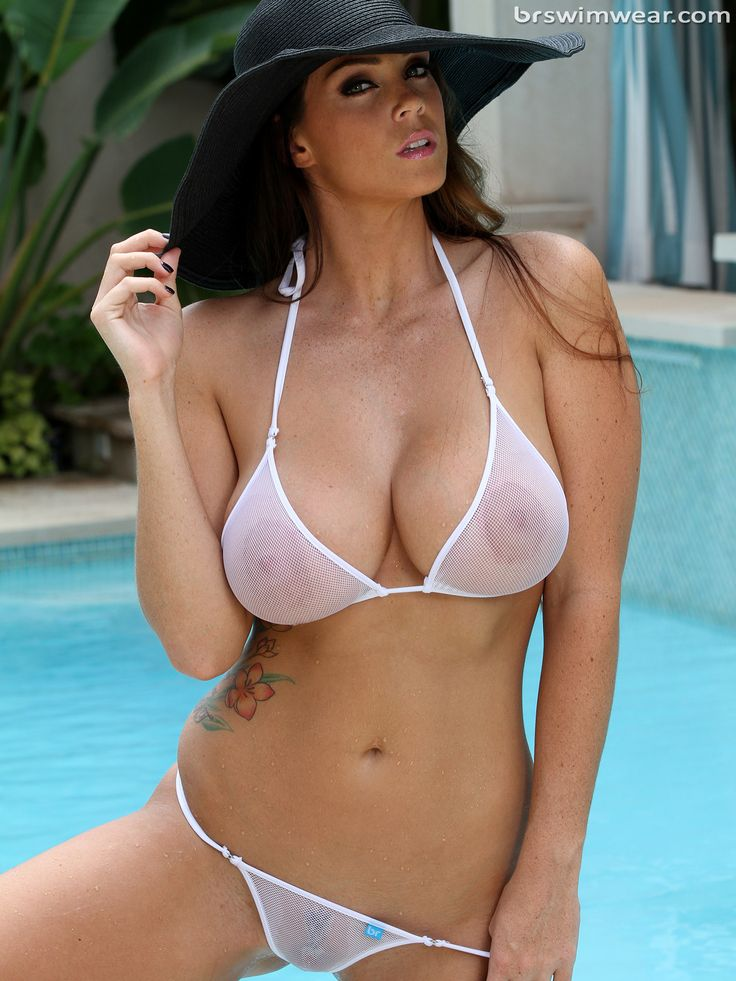 Gorgeous Busty Alison In Sheer White Fishnet Micro Bikini -6136