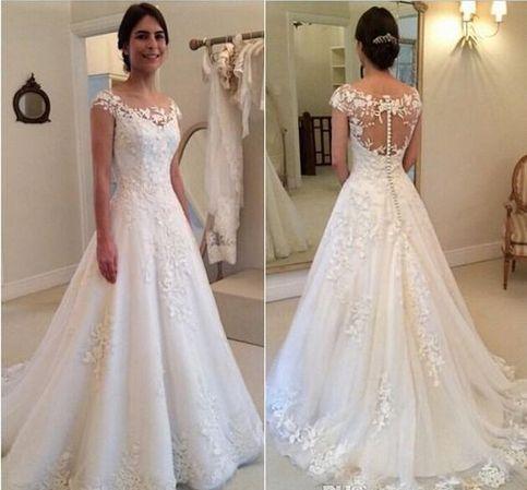A-line Appliqued Long Wedding Dress ,Handmade Bridal Dress Make to Order