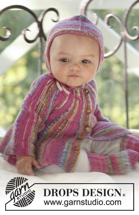 Little Jamboree / DROPS Baby 16-3 - Poikittain neulottu DROPS jakku sekä sukat ja myssy Fabel-langasta.