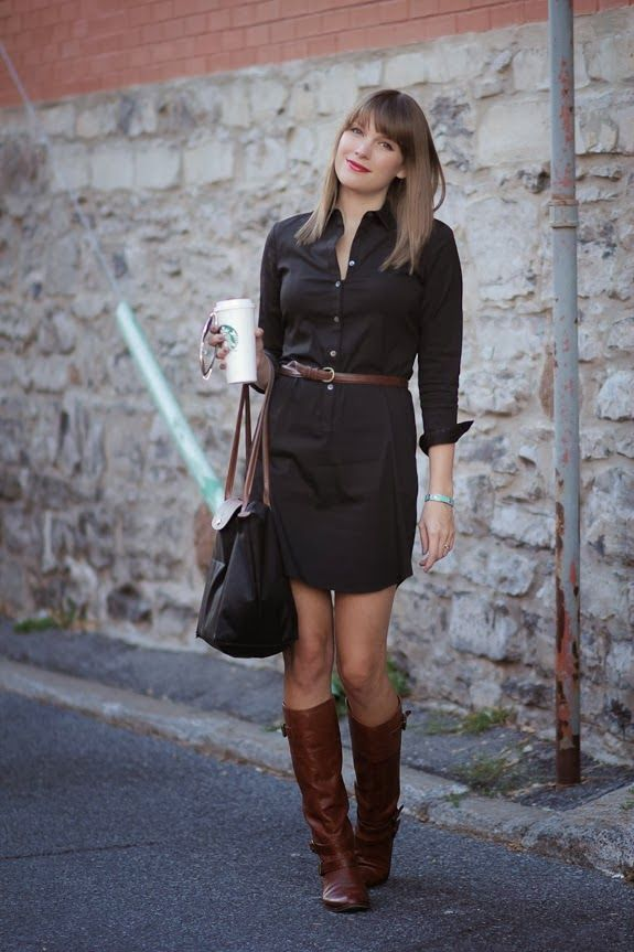 shirtdress and boots brown and black clothes