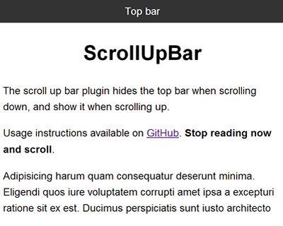 ScrollUpBar – jQuery Plugin to Hide Top Bar When Scrolling Down  #jQuery #scroll #hide #topbar #navigation #header