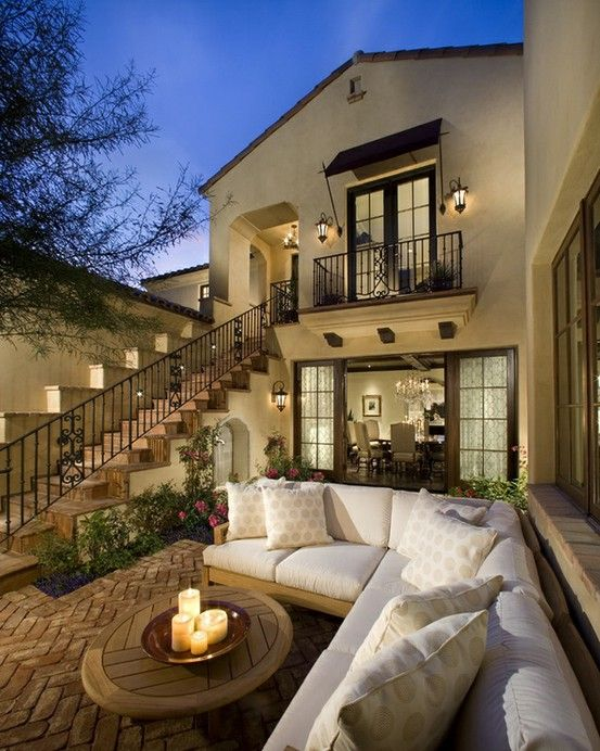 Comfy, cozy and gorgeous! And fancy...just make the table a fire pit: Outdoor Seats, Dreams Home, Outdoor Living Spaces, Dreams House, Back Porches, Backyard, Outdoor Area, Spanish Style, Outdoor Spaces