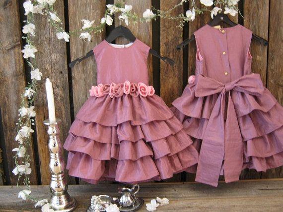 Dusty rose flower girl dress. Special occasion. Pink toddler birthday dress. Taffeta flower girl ruffle dress. Girls wedding party dress