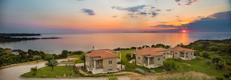 sunsets at Ploes Villas are magical, with a panoramic view of the Ionian Sea and Zante island