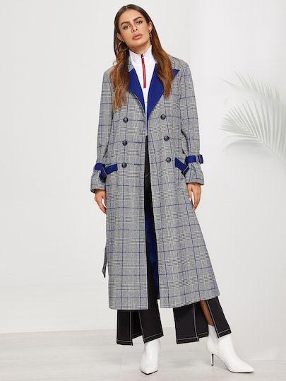 024208b61e SHEIN Notch Collar Double Breasted Plaid Longline Coat coat,womens winter  coats,coats,winter coats,coats and jackets,coats for women,winter jackets  for ...
