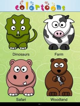 colortoons a coloring app with 30 ready made contours mostly animals - Coloring Apps For Kids
