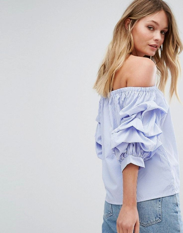 New Look Extreme Sleeve Poplin Bardot Top - Blue