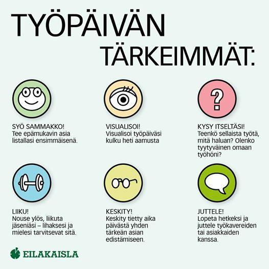 Työpäivän tärkeimmät - muista ainakin kerran päivässä tehdä jokaista näistä. #työ #eilakaisla #työpanos #hyvinvointi #työviihtyvyys #infograafi
