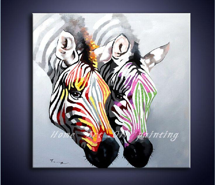 handbeschilderde canvas kunst aan de muur in een kleurrijke zebra dier schilderij moderne kunst home in Schilderen & Kalligrafie van Huis & Tuin op Aliexpress.com