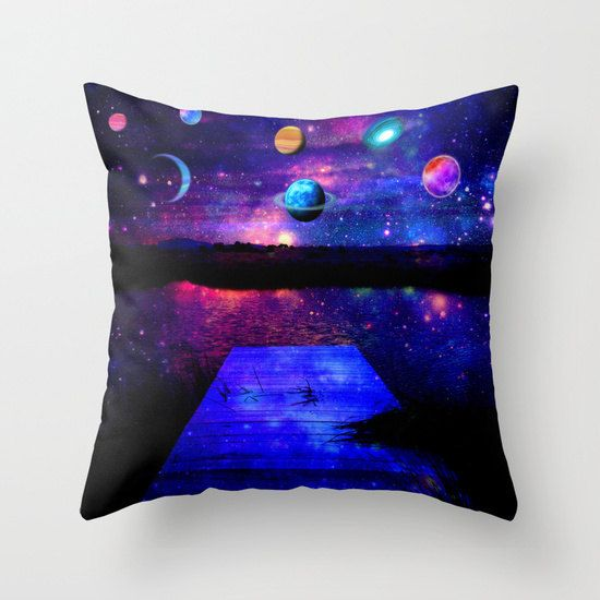 planets pillow/space pillow/blue pillow/purple by haroulitasDesign