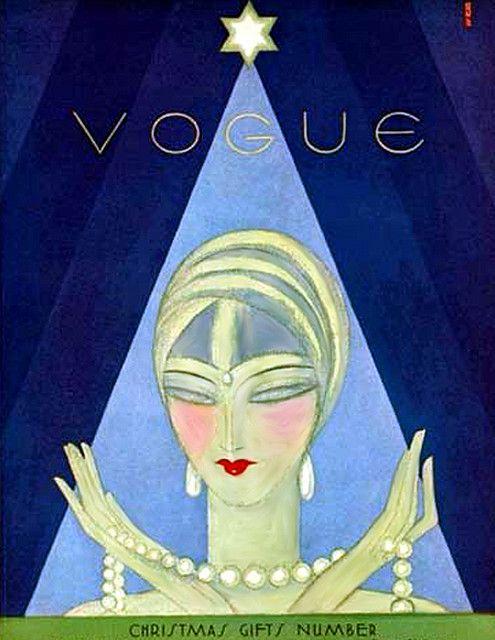 Vintage Deco Flapper Vogue Cover--Mystic Green Christmas