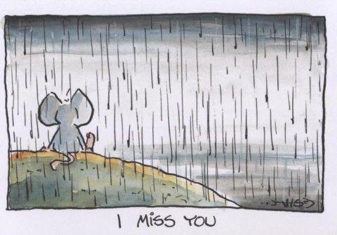 Jan Vis Cartoon Postkarte Liebe: I miss you