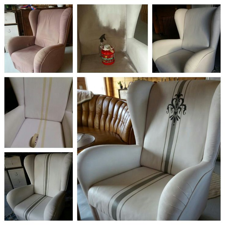 Pehmustettu nojatuoli maalattiin lateksimaalin ja Tranform textilin seoksella. Kuvio on tuputettu itsetehdyn sabloonan avulla. Upholstered armchair is painted with mixture of latex paint and Textile transform. ahoDesign.