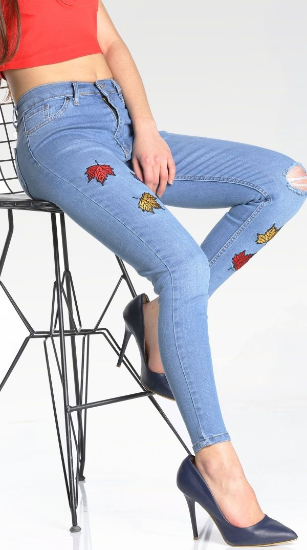 Yaprak Desenli Kot Pantolon P5044 Kapida Odemeli Ucuz Bayan Giyim Alisveris Sitesi Modivera Pantolon Kotlar Giyim