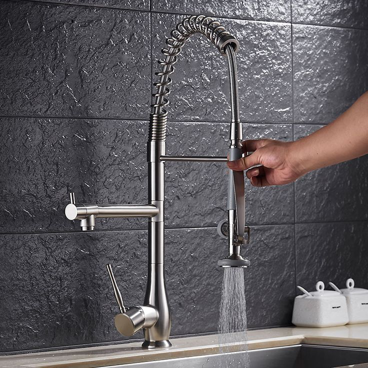 Nice Luxury 100% Brass Pull Out Down Spring Kitchen Sink Faucet Two Spouts 360  Swivel Kitchen