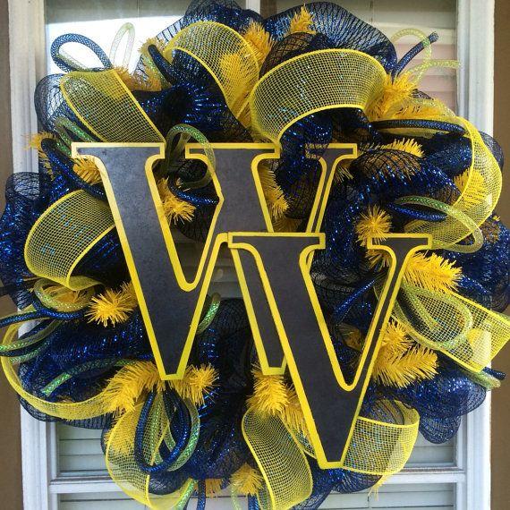 West Virginia University Door Wreath by SouthernWreathDesign