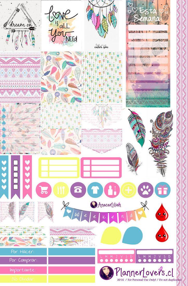 Tribal Rainbow-Free Printable Stickers 4 Planners by AnacarLilian.deviantart.com on @DeviantArt