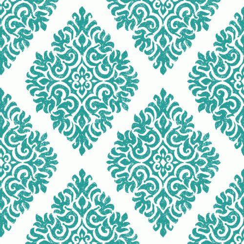 French Garden Damask Teal Wallpaper Tile Wallpaper Tiles