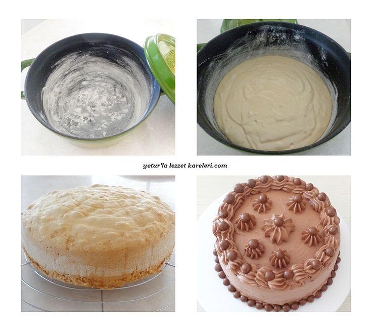 yetur'la lezzet kareleri.com: döküm tencerede sünger pandispanya ve çikolatalı yaş pasta
