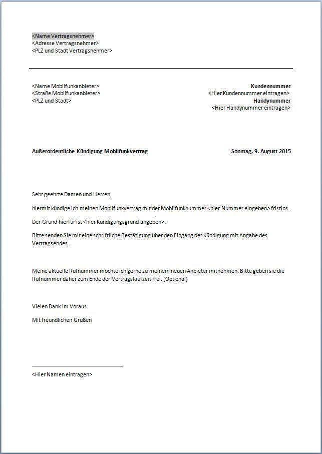 kndigung handyvertrag vorlage mobilcom - Restschuldversicherung Kundigen Muster