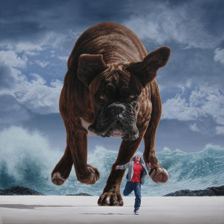 Pursuit Under Silver Skies // Joel ReaArtists, Joel Rea, Joelrea, Surrealism, Painting Art, Canvas, Dogs Painting, Art Painting, Oil