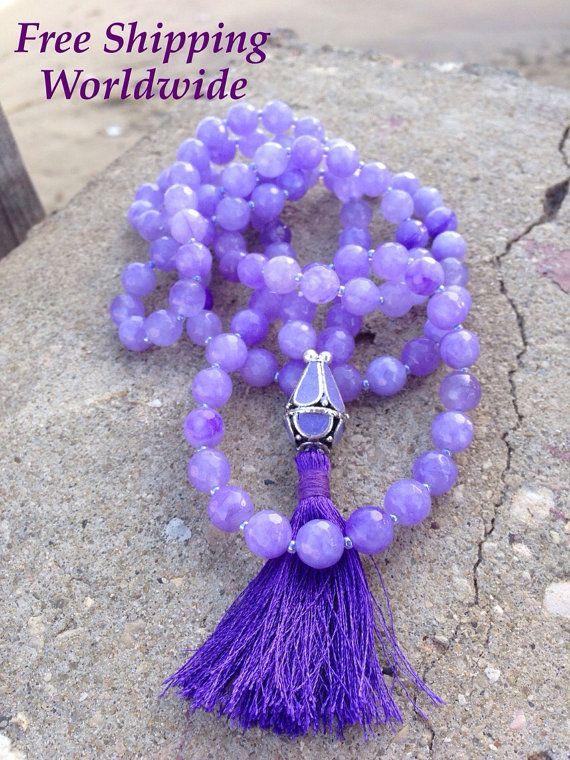 Collier Mala 108 perles de prière, Yoga Mala bouddhiste bijoux, violet collier Mala, perle de prière bouddhiste, Mala de méditation, Mantra perles