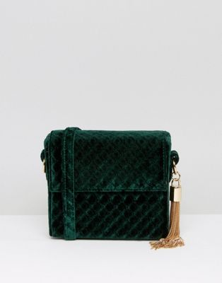 New Look Quilted Velvet Box Crossybody Bag