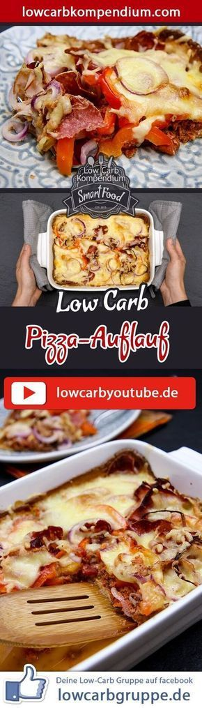 (Low Carb Kompendium) – Hast du heute Lust auf einen Auflauf oder doch lieber eine Pizza? Wieso nicht beides? Der Low-Carb Pizza-Auflauf kombiniert die beiden beliebten Gerichte in eine unverwechselbare Mahlzeit. Mit herzhafter Salami belegt und knusprig mit Käse überbacken, wird dich dieses Gericht sicher umhauen! Und nun wünschen wir dir viel Spaß beim Nachkochen, LG Andy & Diana.