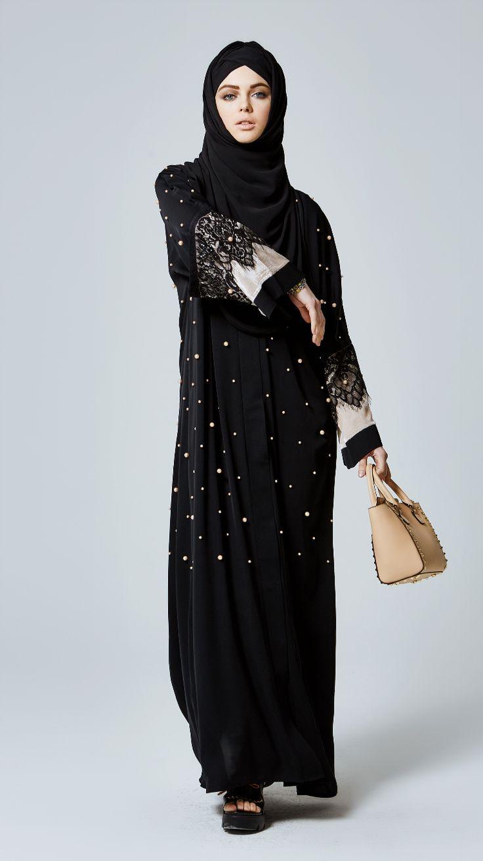 Pearl-lace abaya by Feradje