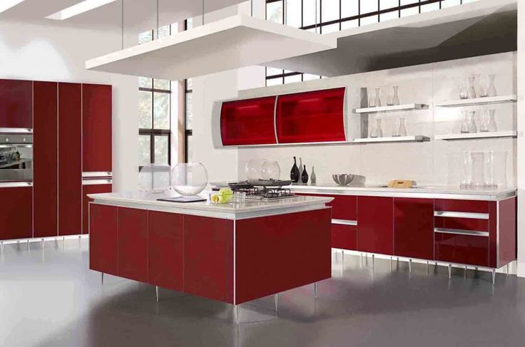 Furniture Awesome Ways to Pick the Faultless Kitchen Furniture: Attractive Kitchen Design Best Cabinet Ideas With Stunning Plan With Fabulous Decoration With Red White Kitchen Inspiration High Gloss Finish Granite Flooring Kitchen Cabinet