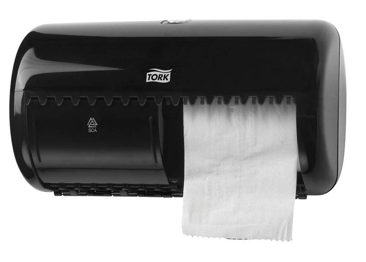 Dispenser hartie igienica Tork SCA- 557008 fabricat din plastic rezistent la socuri.
