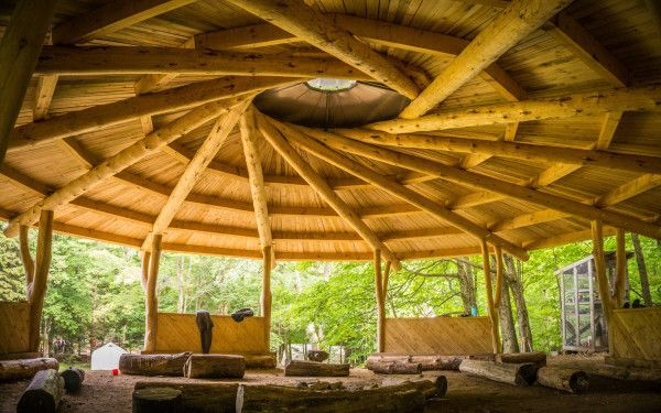 reciprocal timber frame outdoor structure
