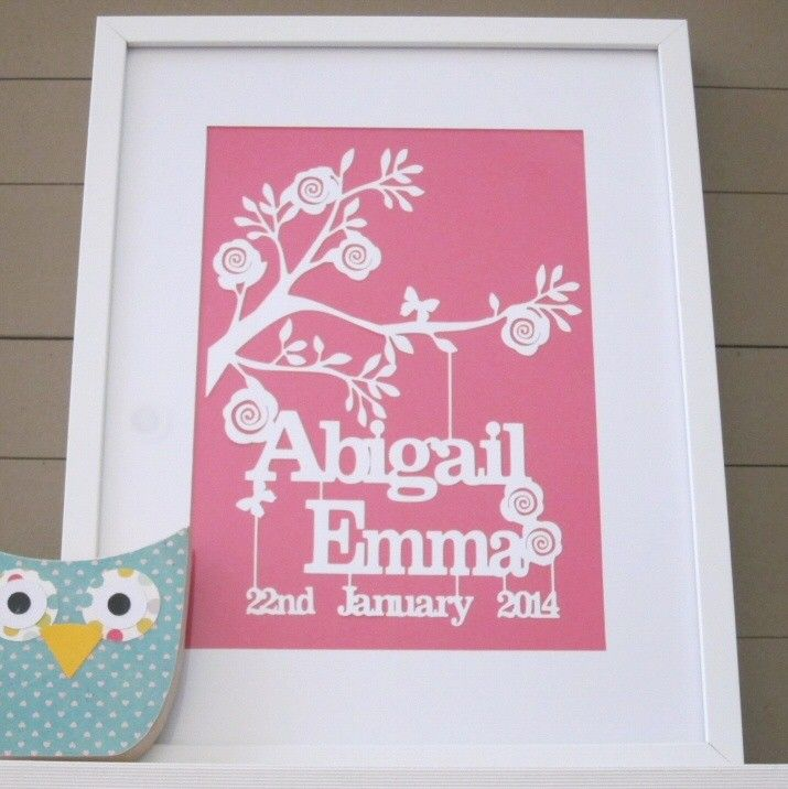 9 best crimbo images on pinterest paper cut outs papercutting and personalised baby girl birth date papercut keepsake girls gift ideas negle Image collections