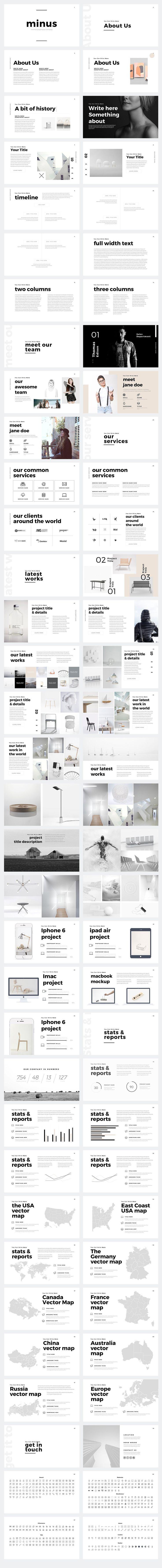Minus Minimal PowerPoint Template by Slidedizer on @creativemarket