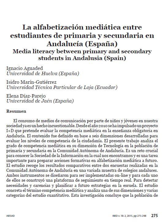 Eduteka - La alfabetización mediática entre estudiantes de primaria y secundaria en Andalucía