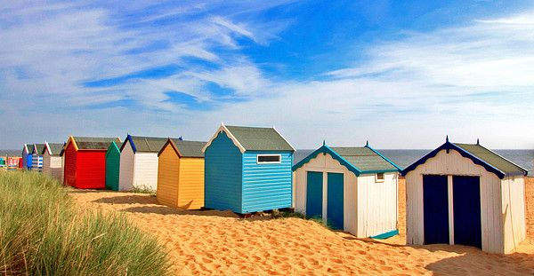 Beach Huts in Southwold, Suffolk, England_ UK