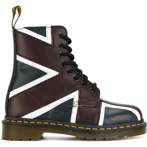 Dr. Martens Pascal Union Jack boots ($270) ❤ liked on Polyvore featuring shoes, boots, blue, dr martens footwear, british flag boots, genuine leather shoes, blue leather boots and dr martens boots