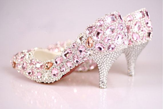 Pink crystal wedding shoes bridal shoes wedding by Queenheels