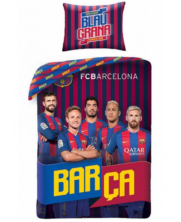 This 100% cotton FC Barcelona Players Messi Single Duvet Cover Set features Neymar, Suarez, Messi, Rakitić and Piqué. Free UK delivery available