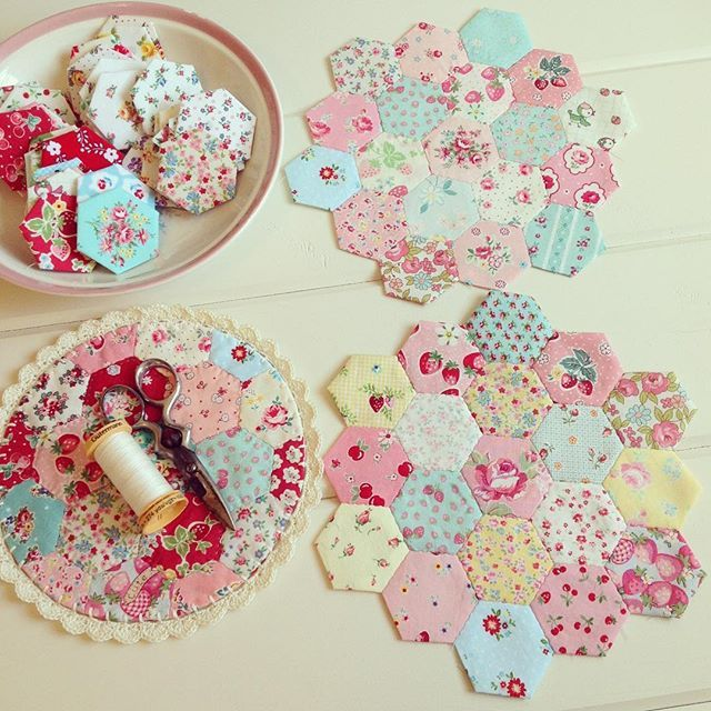 Still working on getting these sweet hexies stitched together to make some…
